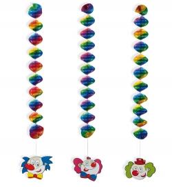 Rotor Girlande Spiral Girlande Clown 3er Set Faschingsdeko