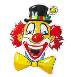 Wanddekoration Faschingsdekoration lachender Clown 50 cm