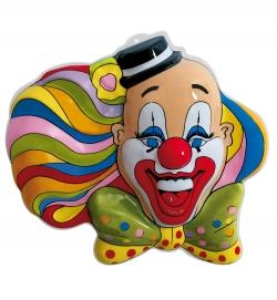 Faschingsdeko Clown buntes Haar Wanddeko