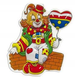 Wanddekoration Faschingsdekoration Clown mit Herzluftballon 40 cm