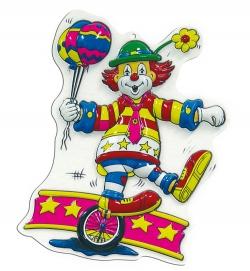 Wanddekoration Faschingsdekoration Clown auf Einrad 40 cm