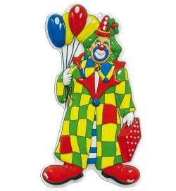 Wand-Deko Clown mit Ballons, ca. 60 cm Höhe
