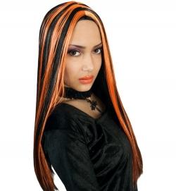 Halloween Perücke Hexe schwarz orange gesträhnt