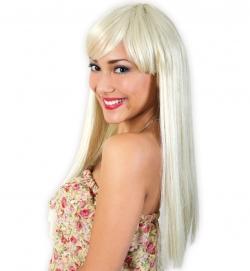 Langhaarperücke mit Pony Farbe blond
