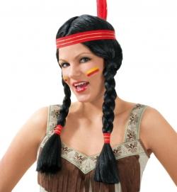 Perücke Sioux Squaw, mit Band und Feder