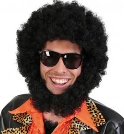 Perücke Afro mit Bart
