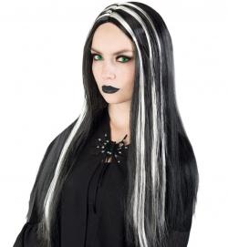 Perücke Hexe schwarz/silber PB