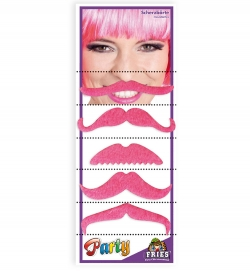 Schnurrbärte pink, 5 Modelle auf Karte
