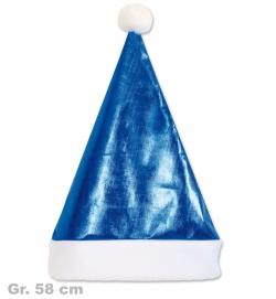 Nikolaus Mütze blau glänzend