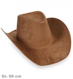 Cowboyhut braun, Wildlederoptik, Gr. 58 cm
