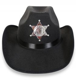 Cowboyhut, schwarz mit Sheriffstern, Gr. 58 cm