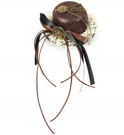 Minihut Steampunk, (Fascinator) mit 2 Haarclips