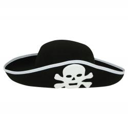 Piratenhut, schwarz, Gr. 56 cm