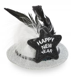 Minihut Happy New Year, (Fascinator) mit 2 Haarclips