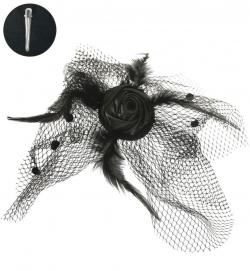 Fascinator Schleier mit Rose, mit Haarclip
