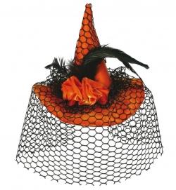 Fascinator Hexenhut, mit Haarclip, orange mit Schleier