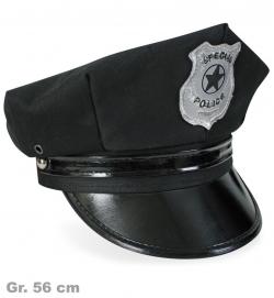 Polizei-Mütze, schwarz, Gr. 56 cm