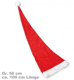 Nikolausmütze Weihnachtsmütze superlang 100 cm