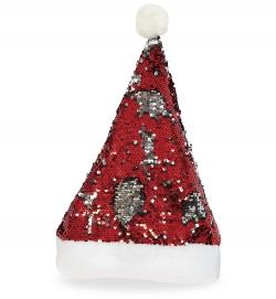 Nikolaus Mütze mit Wendepailletten silber, rot , Gr. 58 cm