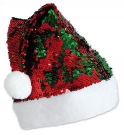 Nikolaus-Mütze Wende-Pailletten rot-grün