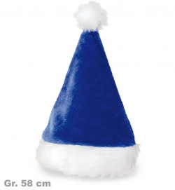 Edle Nikolausmütze Weihnachtsmann blau