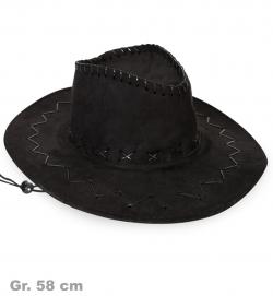 Cowboyhut schwarz, Wildlederoptik, Gr. 58 cm