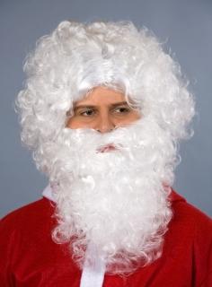 Weihnachtsmann Perücke und Bart im Set weiß