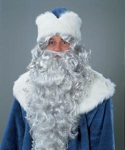 Weihnachtsmann Bart mit Stirnband eisgrau