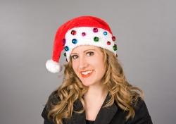 Nikolausmütze Plüsch mit bunten Glöckchen Weihnachtsmütze
