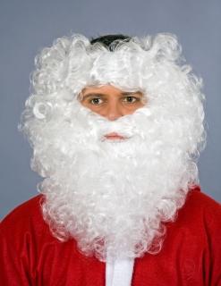 Weihnachtsmann Bart mit Stirnband weiß