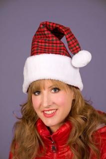 Nikolausmütze kariert Weihnachtsmann Mütze mit Pompon