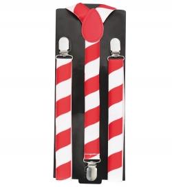 Hosenträger gestreift, rot/weiß