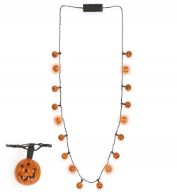 Halskette Kürbis, blinkend, ca. 80 cm Länge (6 LEDs) 3 Modi