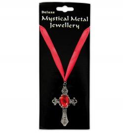 Kette Gothic mit Kreuz und rotem Schmuckband