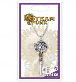 Kette Steampunk, Schlüssel, ca. 60 cm Länge
