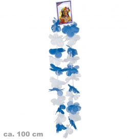 Hawaii-Lei, blau/weiß, ca. 100 cm Länge