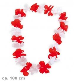 Hawaii-Lei, rot/weiß, ca. 100 cm Länge