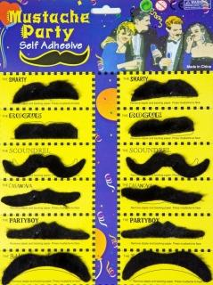 Bartkarte mit 12 Schnurrbärtchen, schwarz