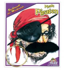 Piraten-Garnitur, 3-tlg. (Ohrring, Augenklappe und Schnurrbart)