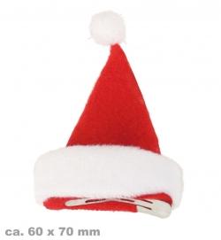 Nikolaus Mütze auf Haarclip, ca. 6 x 7 cm