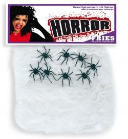 Deko-Spinnennetz mit 8 Spinnen, ca. 120 g