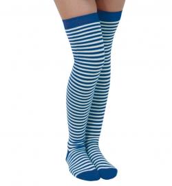 Ringel Strümpfe Overknee extra lang blau/weiß