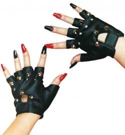 Handschuhe Punk mit Nieten, schwarz, halbe Finger, Lederoptik