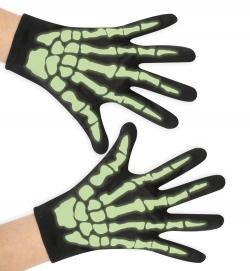 Handschuhe Skelett, nachtleuchtend