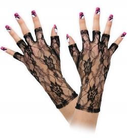 Handschuhe Spitze, schwarz, halbe Finger