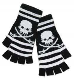 Handschuhe fingerlos Totenkopf Pirat