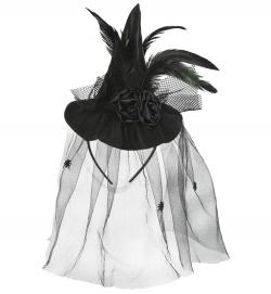 Haarreif Hexe edel, Federn schwarz mit Tüll (Fascinator)