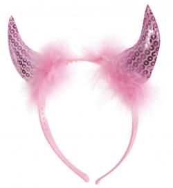 Haarreif Teufelshörner rosa
