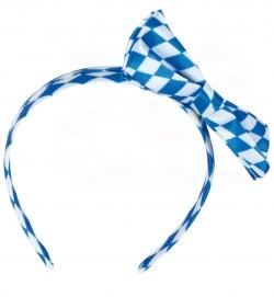Haarreif Oktoberfest Schleife weiß-blau