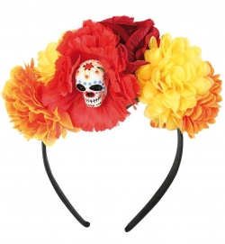 Haarreif Sugar Skull, mit Blumen + Totenkopf